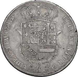 reverse: Firenze.  Ludovico I di Borbone (1801-1803). Francescone 1802. Sigle L.S. (Luigi Siries, incisore) e unicorno (Francesco Grobert zecchiere)