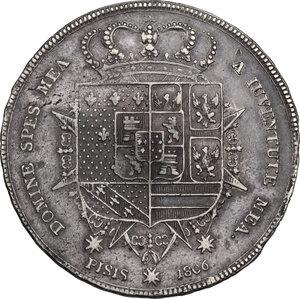reverse: Firenze.  Carlo Ludovico di Borbone e Maria Luigia reggente (1803-1807). Scudo da 10 Paoli o Francescone 1806
