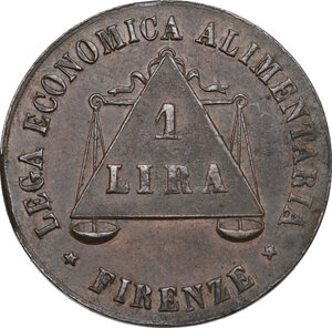 obverse: Firenze.  Lega Economica Alimentaria. Gettone da 1 lira