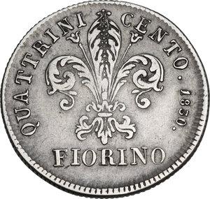 reverse: Firenze.  Leopoldo II di Lorena (1824-1859). Fiorino 1830 P C (Pietro Cinganelli, incisore) e monti araldici (Cosimo Ridolfi, direttore di zecca)