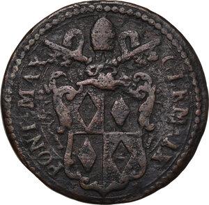 obverse: Gubbio.  Clemente IX (1667-1669), Giulio Girolamo Rospigliosi.. Mezzo Baiocco
