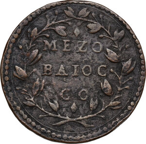 reverse: Gubbio.  Clemente IX (1667-1669), Giulio Girolamo Rospigliosi.. Mezzo Baiocco