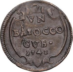 reverse: Gubbio.  Benedetto XIV (1740-1758), Prospero Lambertini.. Baiocco 1742