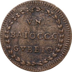 reverse: Gubbio.  Pio VI (1775-1799), Giovanni Angelo Braschi. Baiocco A. XVIII