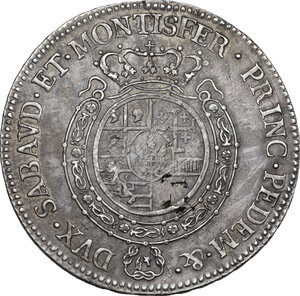 reverse: Vittorio Amedeo III (1773-1796).. Mezzo Scudo 1793