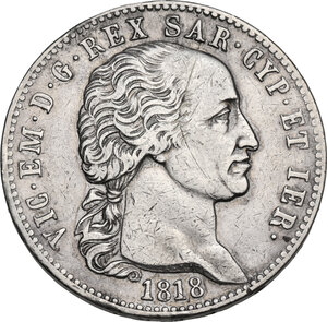 obverse: Vittorio Emanuele I (1802-1821).. 5 Lire 1818 Torino