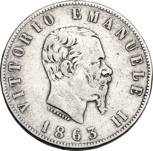 obverse: Vittorio Emanuele II  (1861-1878).. 2 Lire 1863 Napoli