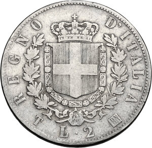 reverse: Vittorio Emanuele II  (1861-1878).. 2 Lire 1863 Torino