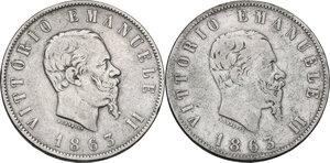 obverse: Vittorio Emanuele II  (1861-1878). Lotto di due (2) monete da 2 lire: 1863 T e 1863 N
