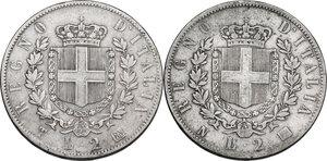 reverse: Vittorio Emanuele II  (1861-1878). Lotto di due (2) monete da 2 lire: 1863 T e 1863 N