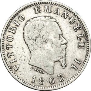 obverse: Vittorio Emanuele II  (1861-1878). Lira 1863 Milano