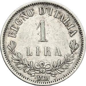 reverse: Vittorio Emanuele II  (1861-1878). Lira 1863 Milano