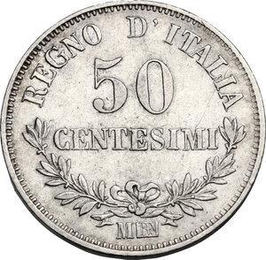 reverse: Vittorio Emanuele II  (1861-1878).. 50 Centesimi 1863 Milano