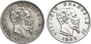obverse: Vittorio Emanuele II  (1861-1878).. Lotto di due monete da 20 Centesimi 1863 Milano e Torino