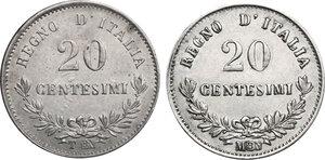 reverse: Vittorio Emanuele II  (1861-1878).. Lotto di due monete da 20 Centesimi 1863 Milano e Torino