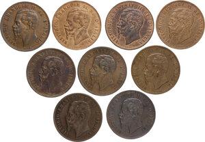 obverse: Vittorio Emanuele II  (1861-1878).. Lotto di nove (9) monete da 10 Centesimi 1863 Parigi, 1866 Torino, Napoli e Strasburgo, 1867 Torino, Napoli, Strasburgo (2) e Birmingham