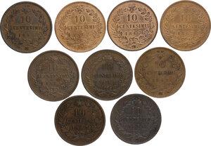 reverse: Vittorio Emanuele II  (1861-1878).. Lotto di nove (9) monete da 10 Centesimi 1863 Parigi, 1866 Torino, Napoli e Strasburgo, 1867 Torino, Napoli, Strasburgo (2) e Birmingham