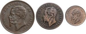 obverse: Vittorio Emanuele II  (1861-1878).. Lotto di tre monete da 5, 2 e 1 Centesimi 1861 Napoli