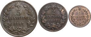 reverse: Vittorio Emanuele II  (1861-1878).. Lotto di tre monete da 5, 2 e 1 Centesimi 1861 Napoli