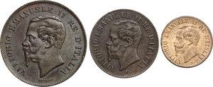obverse: Vittorio Emanuele II  (1861-1878).. Lotto di tre monete da 5, 2 e 1 Centesimi 1862 Napoli