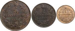 reverse: Vittorio Emanuele II  (1861-1878).. Lotto di tre monete da 5, 2 e 1 Centesimi 1862 Napoli