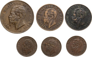 obverse: Vittorio Emanuele II  (1861-1878).. Lotto di sei (6) monete da 5 Centesimi 1867 Napoli, 2 Centesimi 1867 Milano (2), Centesimo 1867 MIlano (3)