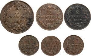 reverse: Vittorio Emanuele II  (1861-1878).. Lotto di sei (6) monete da 5 Centesimi 1867 Napoli, 2 Centesimi 1867 Milano (2), Centesimo 1867 MIlano (3)