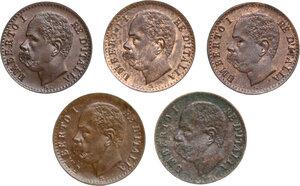 obverse: Umberto I (1878-1900).. Lotto di cinque (5) monete da 1 Centesimo 1895, 1896, 1899 e 1900 (2)