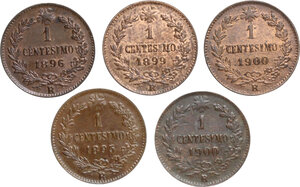 reverse: Umberto I (1878-1900).. Lotto di cinque (5) monete da 1 Centesimo 1895, 1896, 1899 e 1900 (2)