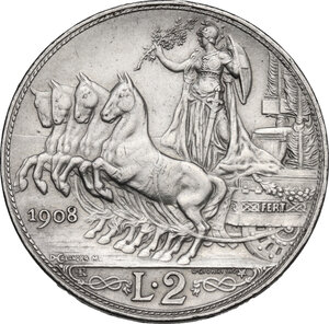 reverse: Vittorio Emanuele III (1900-1943). 2 lire 1908