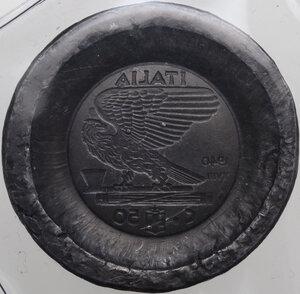 reverse: Vittorio Emanuele III (1900-1943). Prova di punzonatura su lastra in piombo del rovescio dei 50 centesimi 1940 A. XVIII