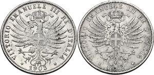 Vittorio Emanuele III (1900-1943). Serie di due (2) monete da 25 centesimi: 1902, 1903