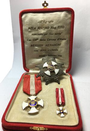 obverse: Ordine della Corona d Italia.. Placca da petto, distintivo e miniatura
