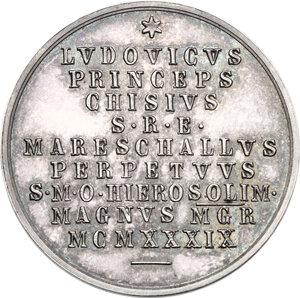 reverse: Sede Vacante (1939). Medaglia emessa dal Maresciallo del Conclave Principe Ludovico Chigi