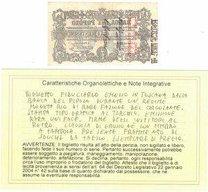 reverse: Banconote. Banca del Popolo Firenze. 50 Centesimi. 1868. BB/SPL. Perizia Giovanni Ardimento. Emissione uniface. R.