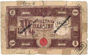 obverse: Banconote. Regno d Italia. Vittorio Emanuele III. 1.000 Lire Grande M. (Fascio). D.M 12 Dicembre 1942.