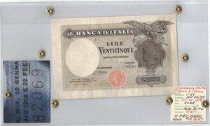 obverse: Banconote. Regno d Italia. Vittorio Emanuele III. 25 Lire Aquila Latina. D.M. 22-01-1919. Gig. BI1C. qBB. Sigillata Testa. Errore di stampa. FEBBRAIO scritto FEEBRAIO. RRR.
