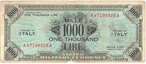 Banconote. Occupazione Americana. 1000 Am lire 1943. Bilingue FLC. Gig AM 14A.