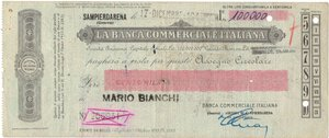 obverse: Banconote. Banca Commerciale Italiana. 100.000 Lire 1943.