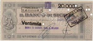 obverse: Banconote. Banco di Sicilia. Vaglia di 20.000 Lire 18/08/1944. BB+. I vaglia potevano essere emessi solo dal Banco di Sicilia, Banco di Napoli e Banca d Italia. Ha circolato in sostituzione delle banconote. Con annullo PAGATO.