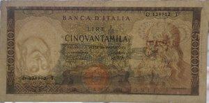 obverse: Banconote. Repubblica Italiana. 50.000 lire Leonardo. D.M. 04/02/1974. Gig.BI78D. qBB/BB. Piega centrale. Taglio in basso. Errore di stampa. Testa filigranata capovolta. R.