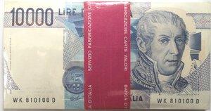 obverse: Banconote. Repubblica Italiana. 10.000 lire Alessandro Volta. 1998. Gig.BI76K. Mazzetta da 100 banconote. FDS.