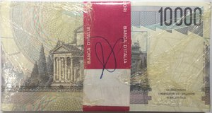 reverse: Banconote. Repubblica Italiana. 10.000 lire Alessandro Volta. 1998. Gig.BI76K. Mazzetta da 100 banconote. FDS.