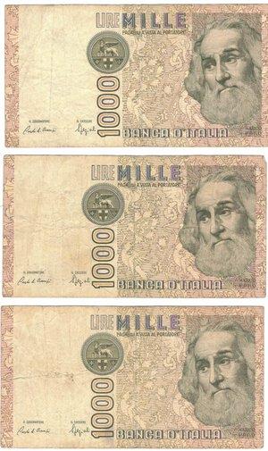 obverse: Banconote. Repubblica Italiana. Lotto di 3 pezzi da 1.000 Lire. Tutte serie sostitutive.