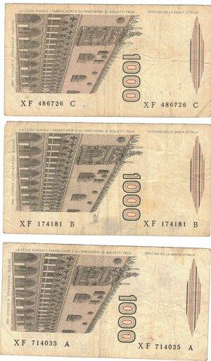 reverse: Banconote. Repubblica Italiana. Lotto di 3 pezzi da 1.000 Lire. Tutte serie sostitutive.