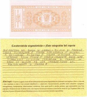 reverse: Banconote. Miniassegno. Banco di Napoli. Lire 100. Unione Regionale del Commercio e del Turismo della Toscana. 02-02-1976. FDS. Perizia Giovanni Ardimento. RRR.