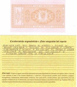 reverse: Banconote. Miniassegno. Banco di Napoli. Lire 100. Consorzio Fata Morgana Gruppo di Acquisto. 12-03-1976. FDS. Perizia Giovanni Ardimento. RRRR.