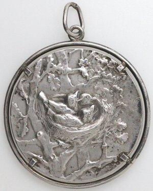 obverse: Medaglia. Medaglia Premio 1912 A Carlo Folletti. Per la Protezione degli Uccelli e dei Nidi. Ag 800.