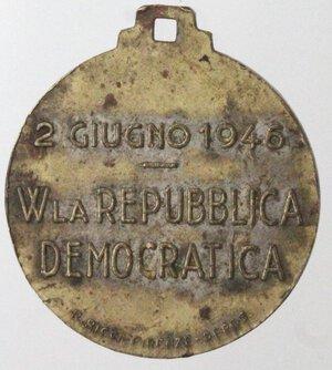 reverse: Medaglie. Medaglia 1946. Ae e smalti. Per l avvento della Repubblica 2 giugno 1946.