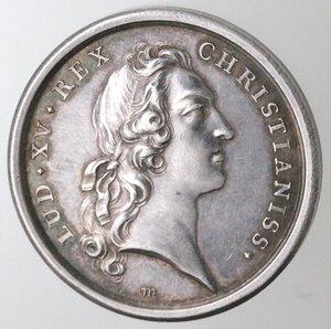 obverse: Medaglie. Francia. Luigi XV. 1715-1774. Medaglia 1745. Per il primo matrimonio con Maria Teresa di Spagna. Ag.